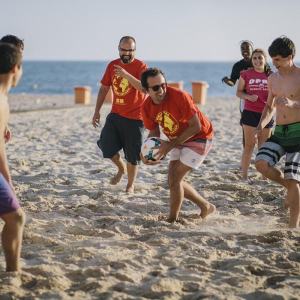Sports at the beach in Cadiz, Spain