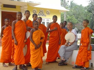 Photo of a group of monks, taken by a Projects Abroad volunteer in Sri Lanka