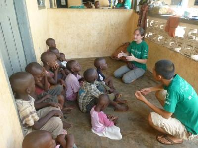 Projects Abroad volunteers teaching children about HIV/AIDS in Togo