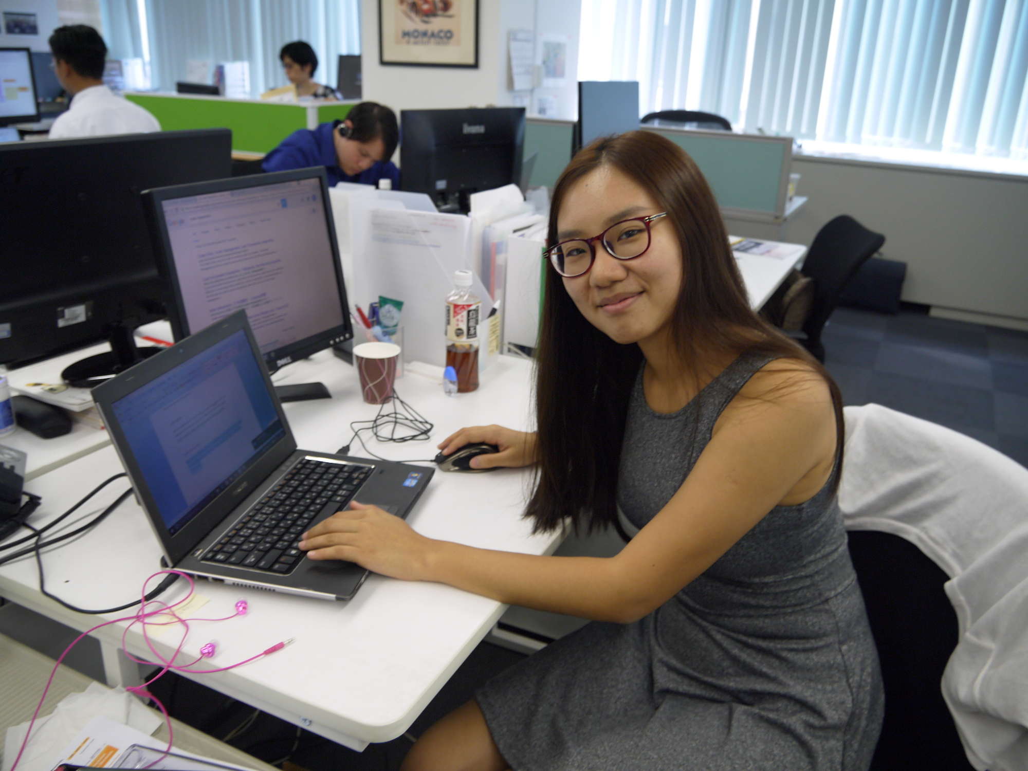 intern working on her computer