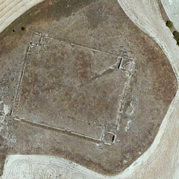 Aerial view of great Roman Fortress building