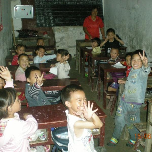 students at a rural school in China