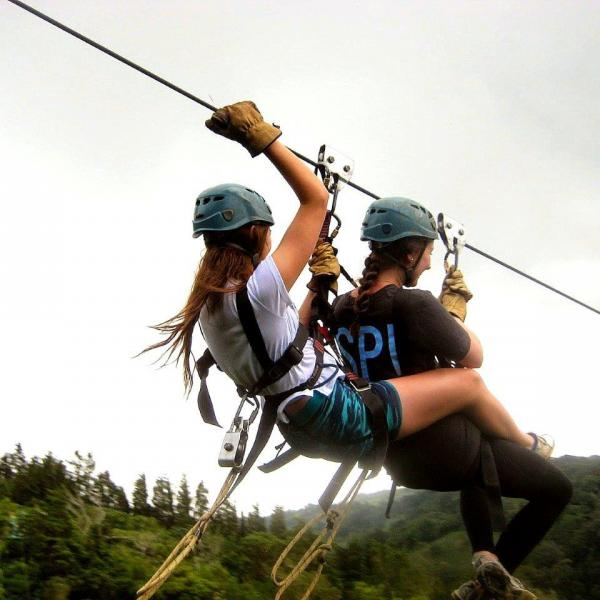 SPI students on a zip line in Costa Rica