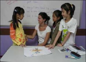 teacher and students discussing the topic in English