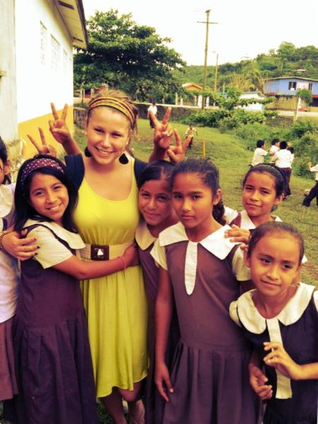 Student teacher with Belizean students