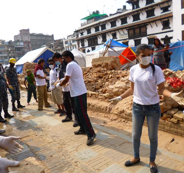 Voluntary work at the UNESCO World Heritage Sites damaged after the massive earthquake damaged