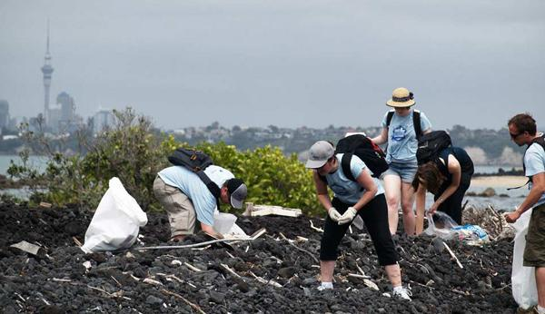 Volunteers doing coastal cleanup