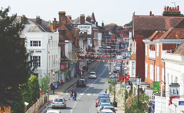 Bustling road in Hastings, United Kingdom