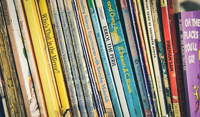 English childrens books on a shelf