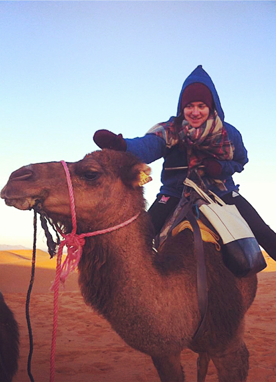 Camel ride in wintery Moroccan desert.