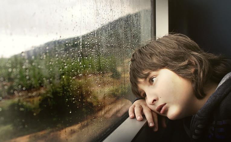 A boy inside a train