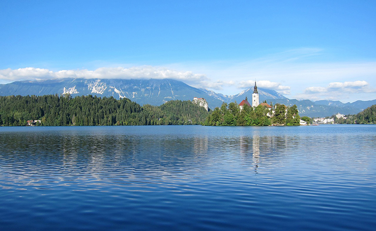 View of Lake Bled in Slovenia