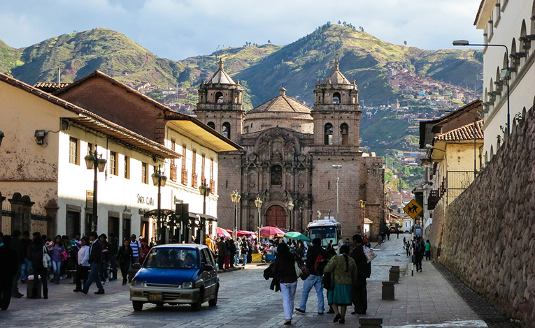 Street view of Cusco Cathedral in Peru