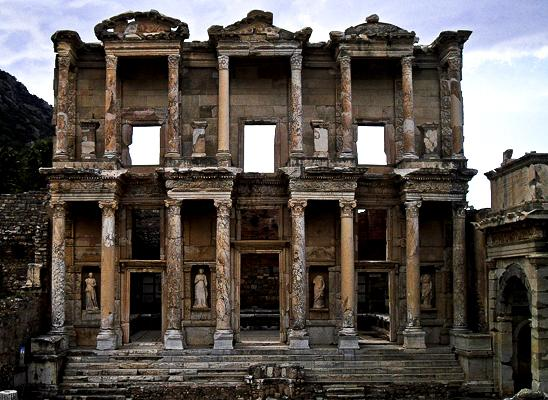 The beautiful Library of Celsus in Ephesus, Turkey once housed 12,000 scrolls, and easily earns the first place title for its magnificent facade.
