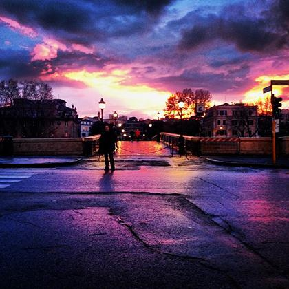 A Colorful Sunset in Rome.