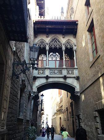 The Gothic Quarter in the center of Barcelona which includes architecture from the medieval times when Romans settled in the area.