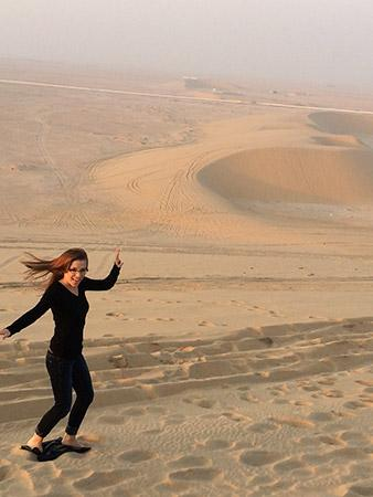 surfing the Singing Sand Dunes of Qatar