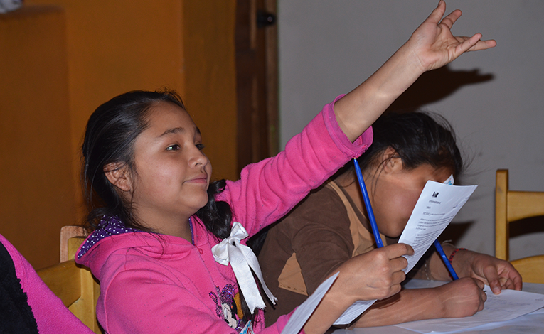 Young girl raising her hand in a classroom