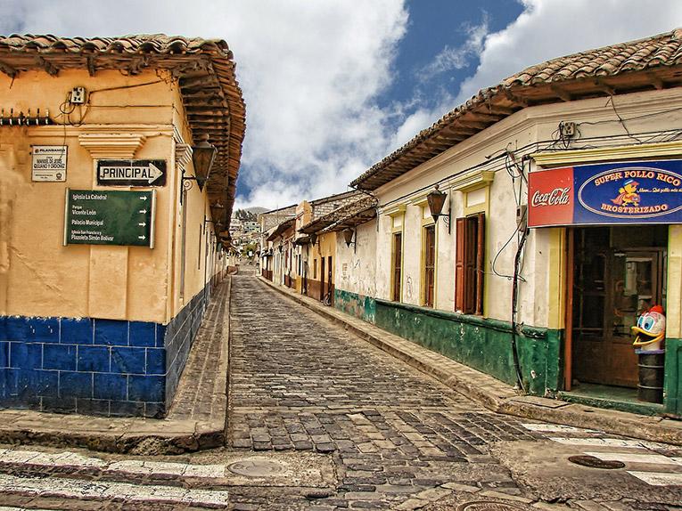 Cobblestone street in a Guatemalan village