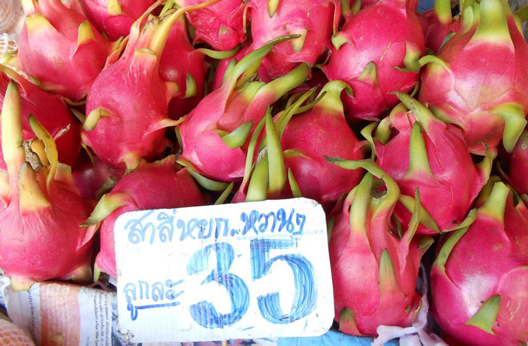 Dragon fruit at market in Chiang Mai, Thailand