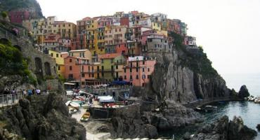 View of colorful Cinque Terre, or the five villages, that has become a staple image of Italy.