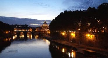 Lights at dusk bring out the beauty of Rome