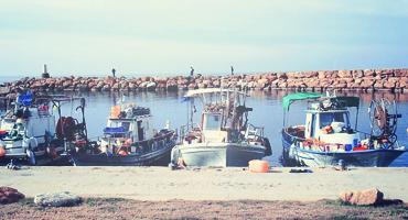 Boats line a dock in the island nation of Cyprus
