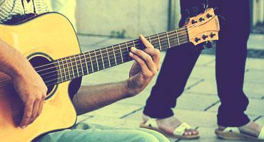 A musician with his guitar