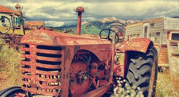 An old red tractor.