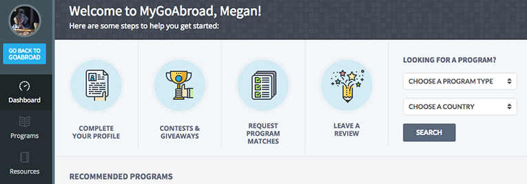 Snapshot of MyGoAbroad dashboard