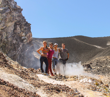 Students at a Cerro Negro Volcano