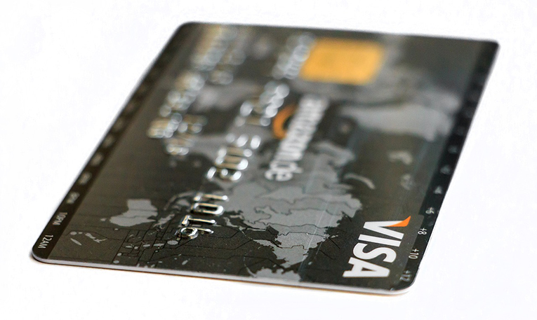 Visa card with a map of the world on it