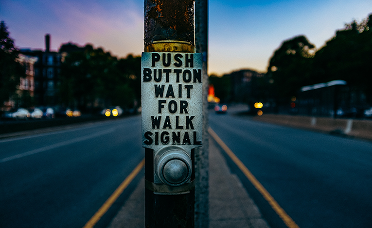 Push button for crosswalk