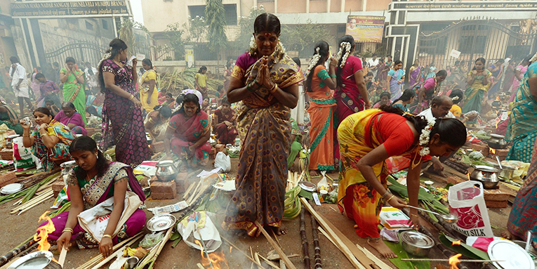 women ringing in Pongol together