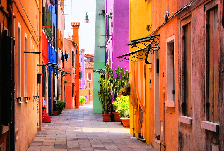 A street full of colorful houses