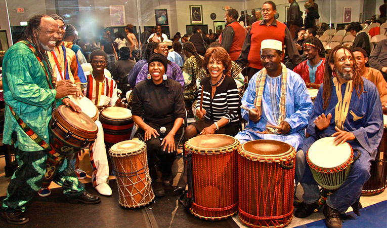 People playing drums during Kwanzaa