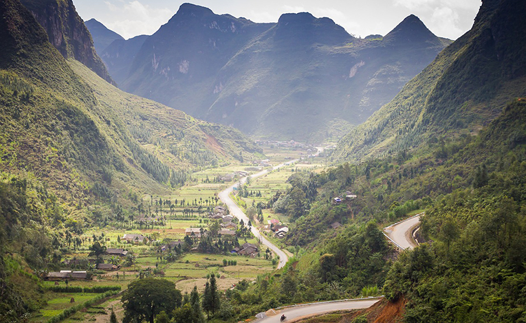 lush valley and mountains in vietnam