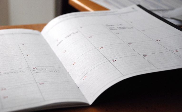 Calendar sitting open on a desk