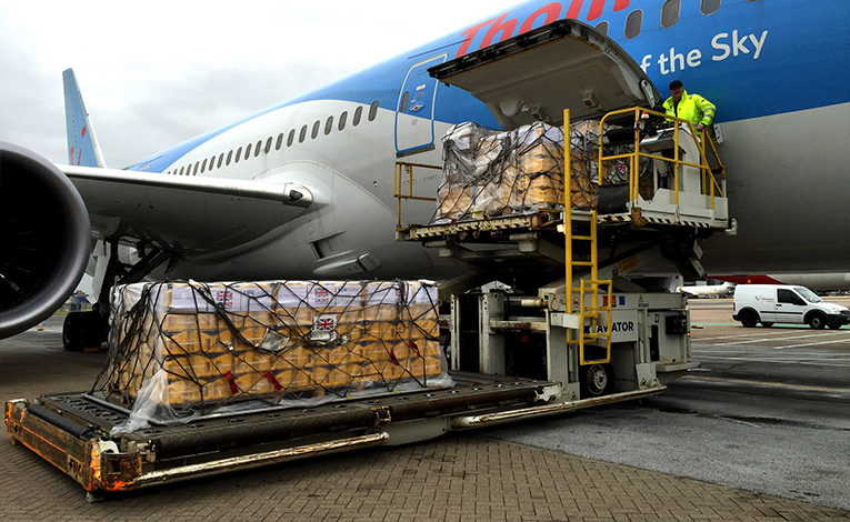 UK Aid cargo being unloaded