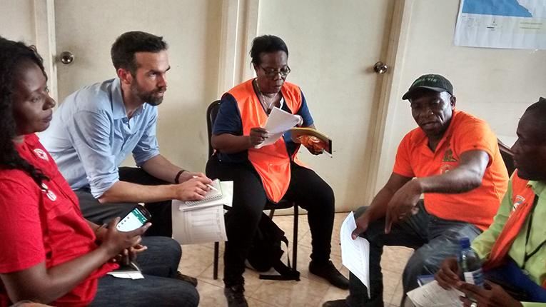 Aid workers meeting in Jeremie, Haiti