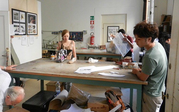 Students working in an art studio in Italy