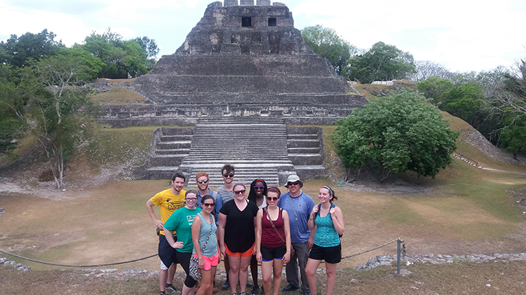Study abroad students visiting sites in Belize
