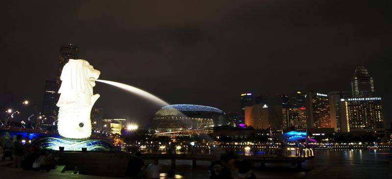 Merlion and the Singapore City Skyline