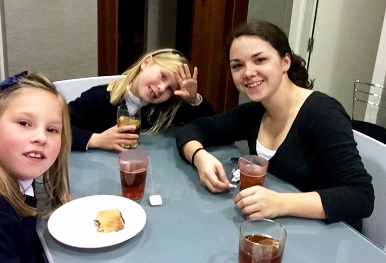 International student with host sisters in Costa Rica