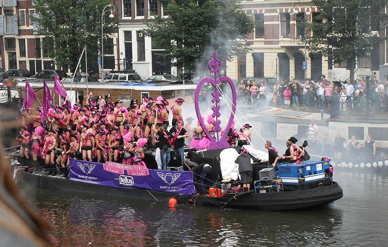 Gay parade in Amsterdam, Netherlands