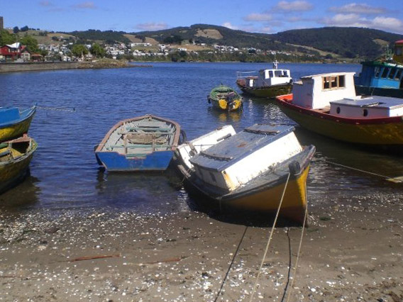 Fishing boats on the Island of Chiloe, Chile
