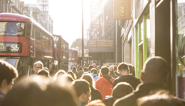 Crowded street in London, England