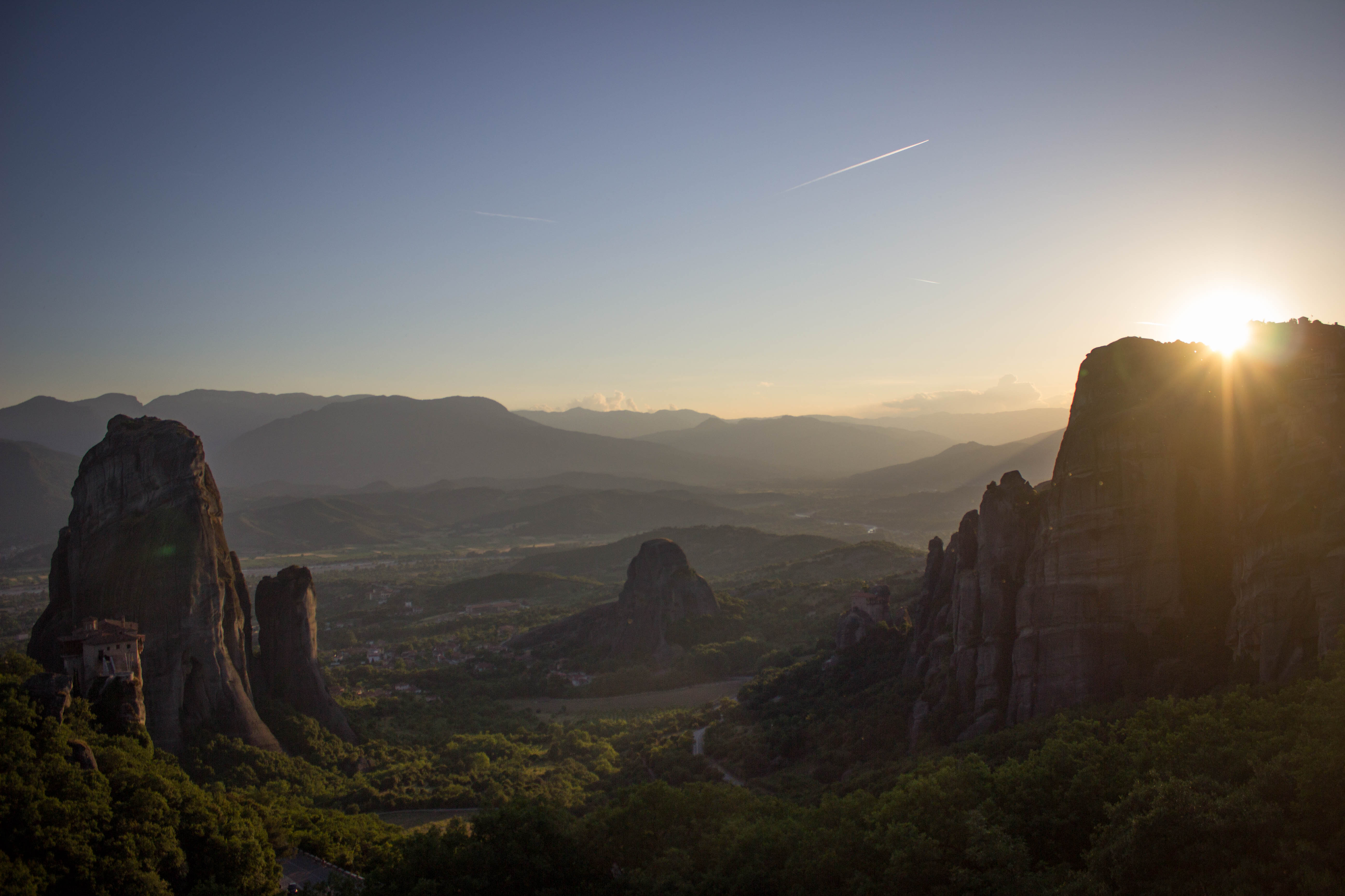 Sunset over the mountains in Meteora, Greece