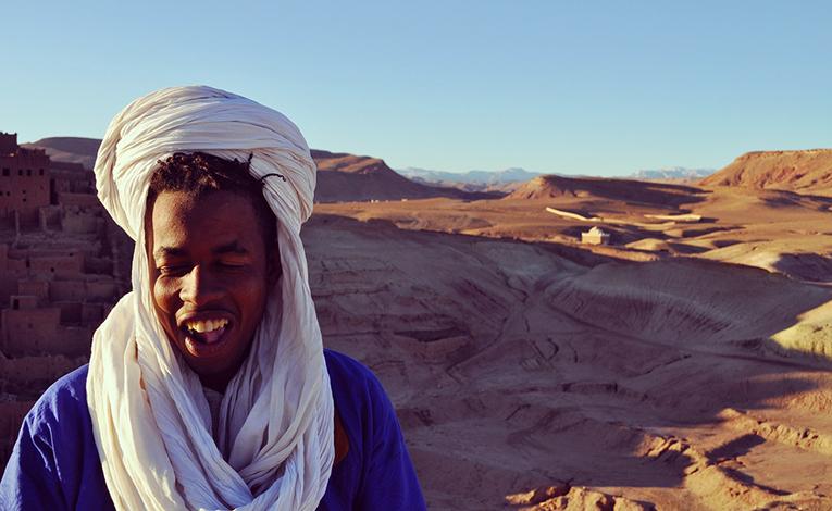 Man in Moroccan desert