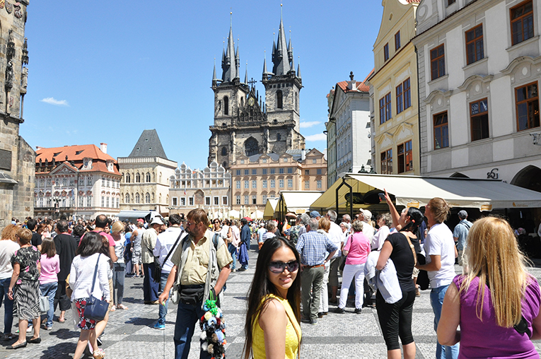 A woman in the city of Prague
